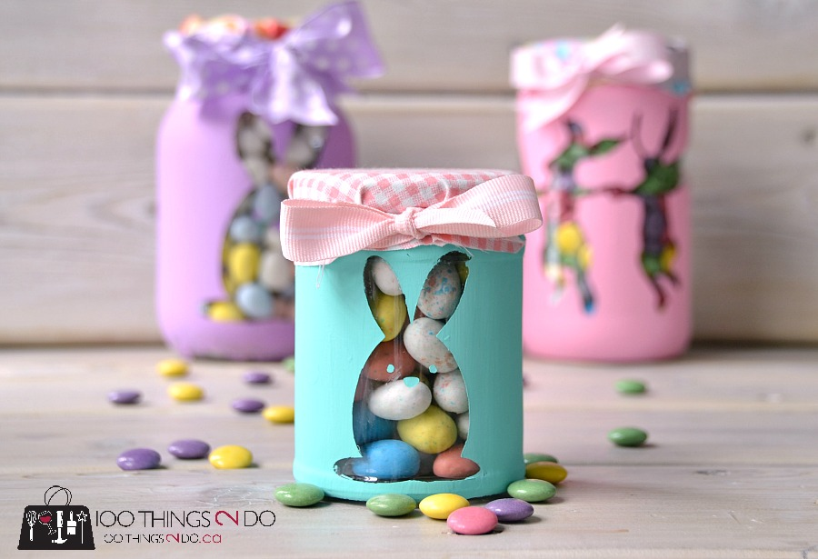 Easter bunny candy jars. Easter gift. Easter treat jar.
