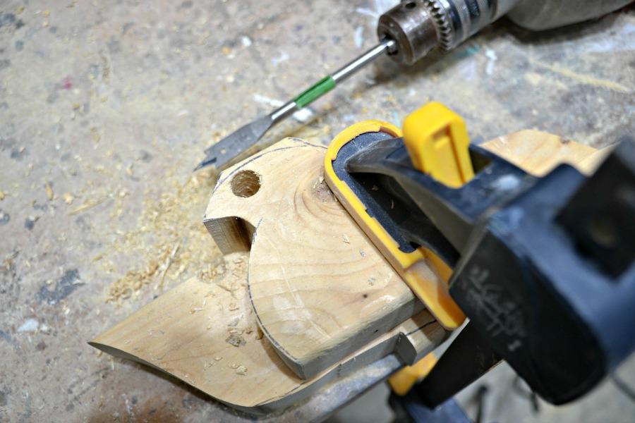 scrap wood bird doorstops - 1