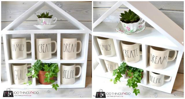 DIY coffee mug shelf / House shelf