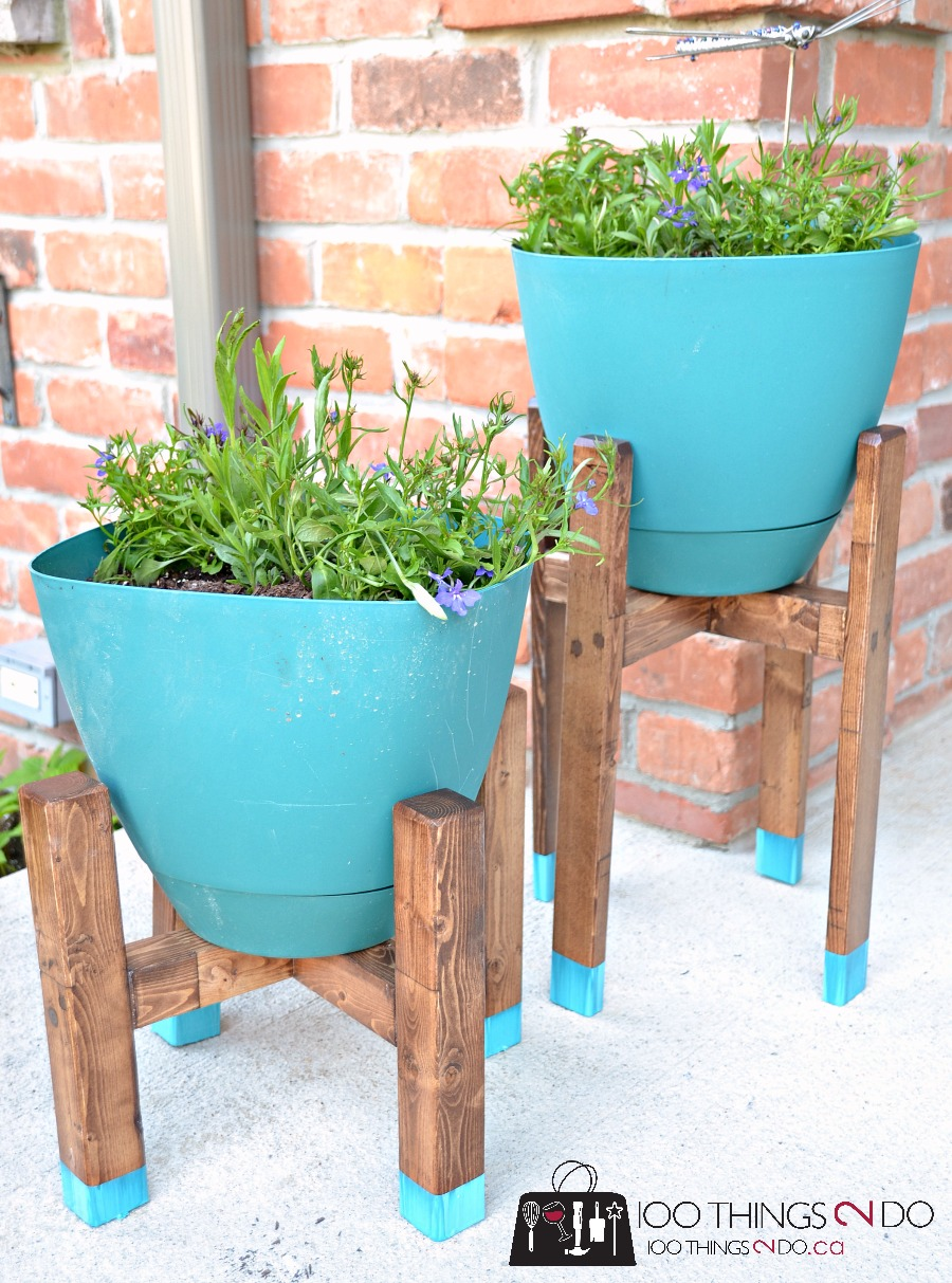 DIY Plant Stand, mid-century plant stand, West Elm inspired plant stand