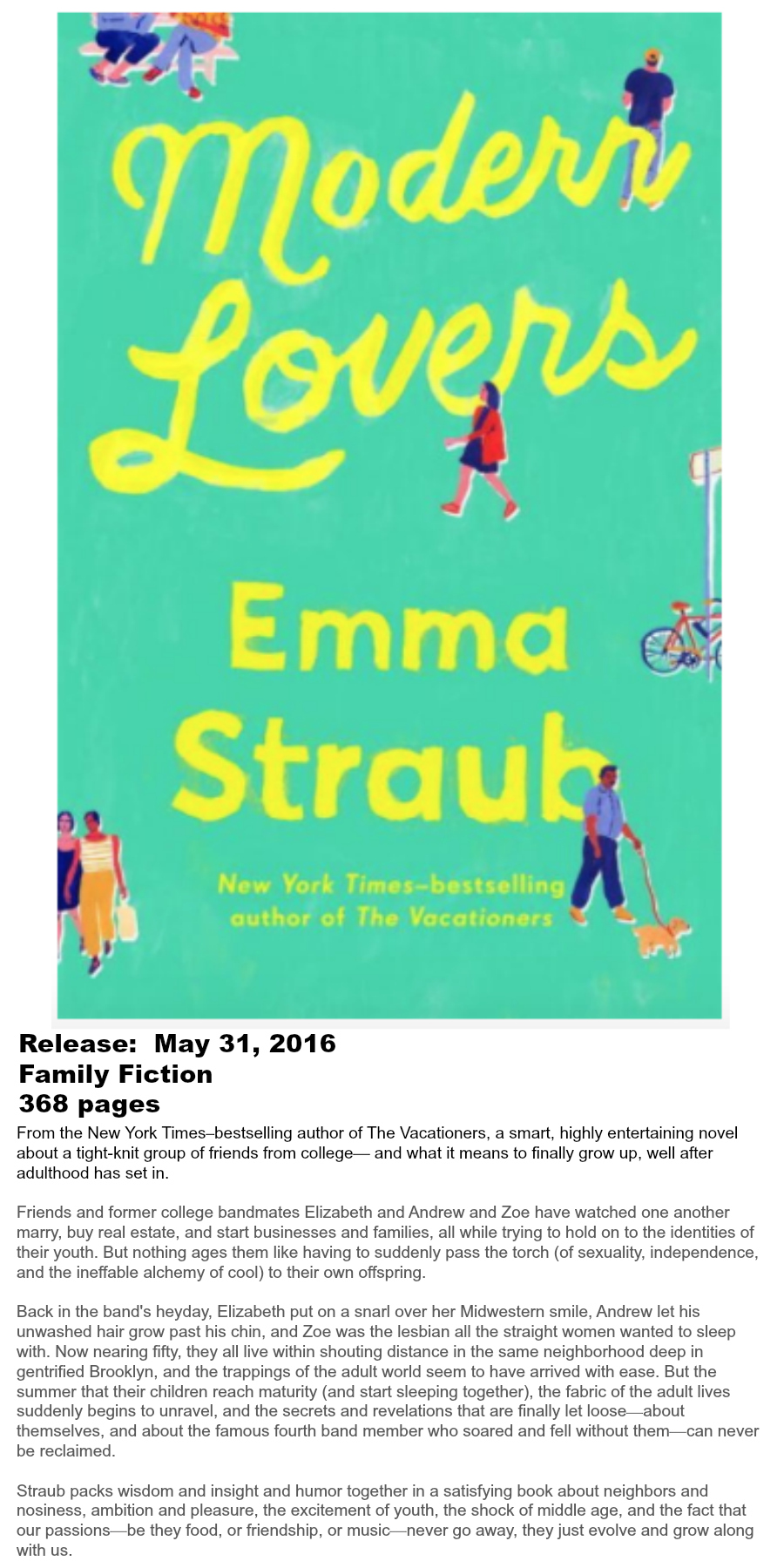 Must-read Books of Summer 2016 - Modern Lovers Emma Straub