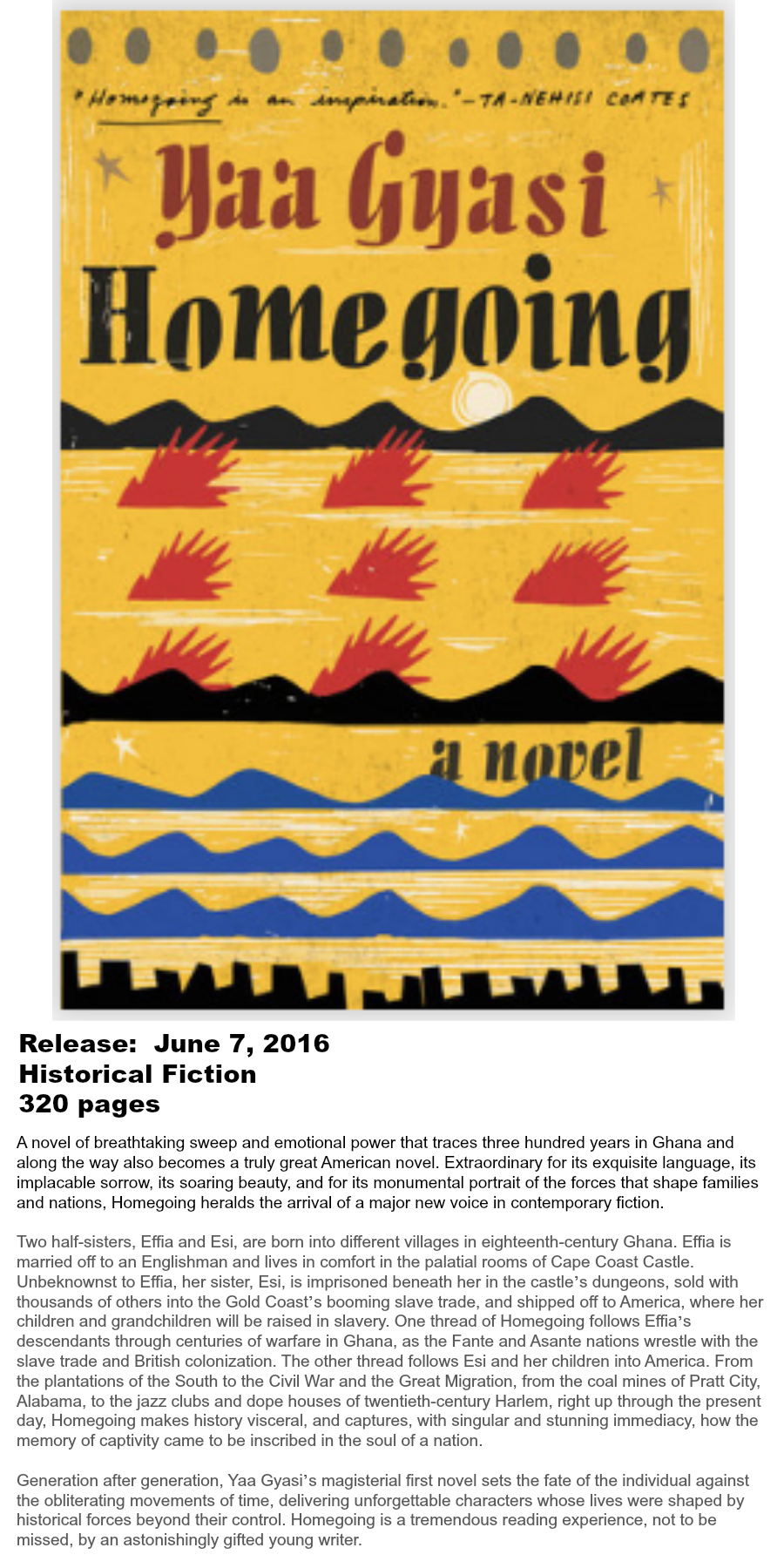 Must-read Books of Summer 2016 - Homegoing Yaa Gyasi