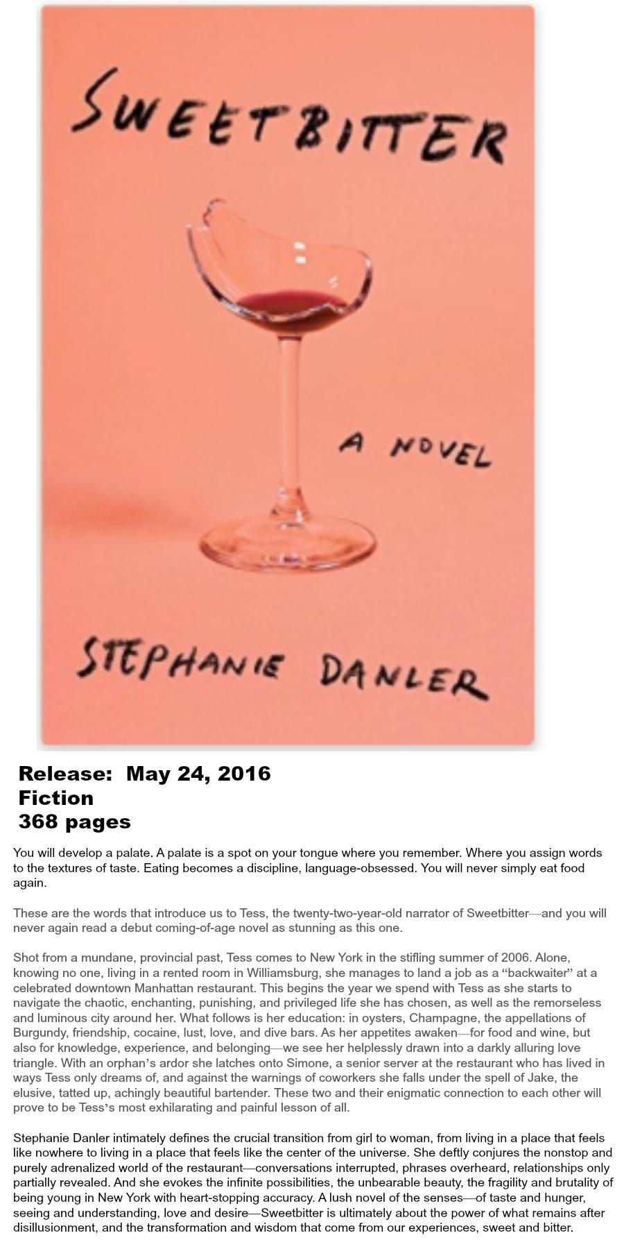Must-read Books of Summer 2016 - Sweeetbitter Stephanie Danler