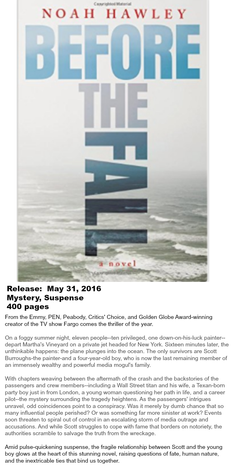 Must-read Books of Summer 2016 - Before The Fall Noah Hawley
