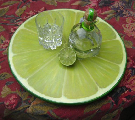 Lime serving tray / Lime slice lazy-susan