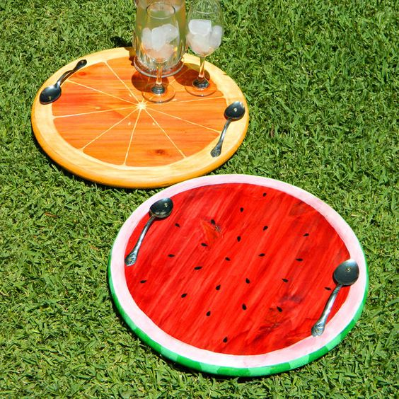 watermelon serving tray / orange slice serving tray