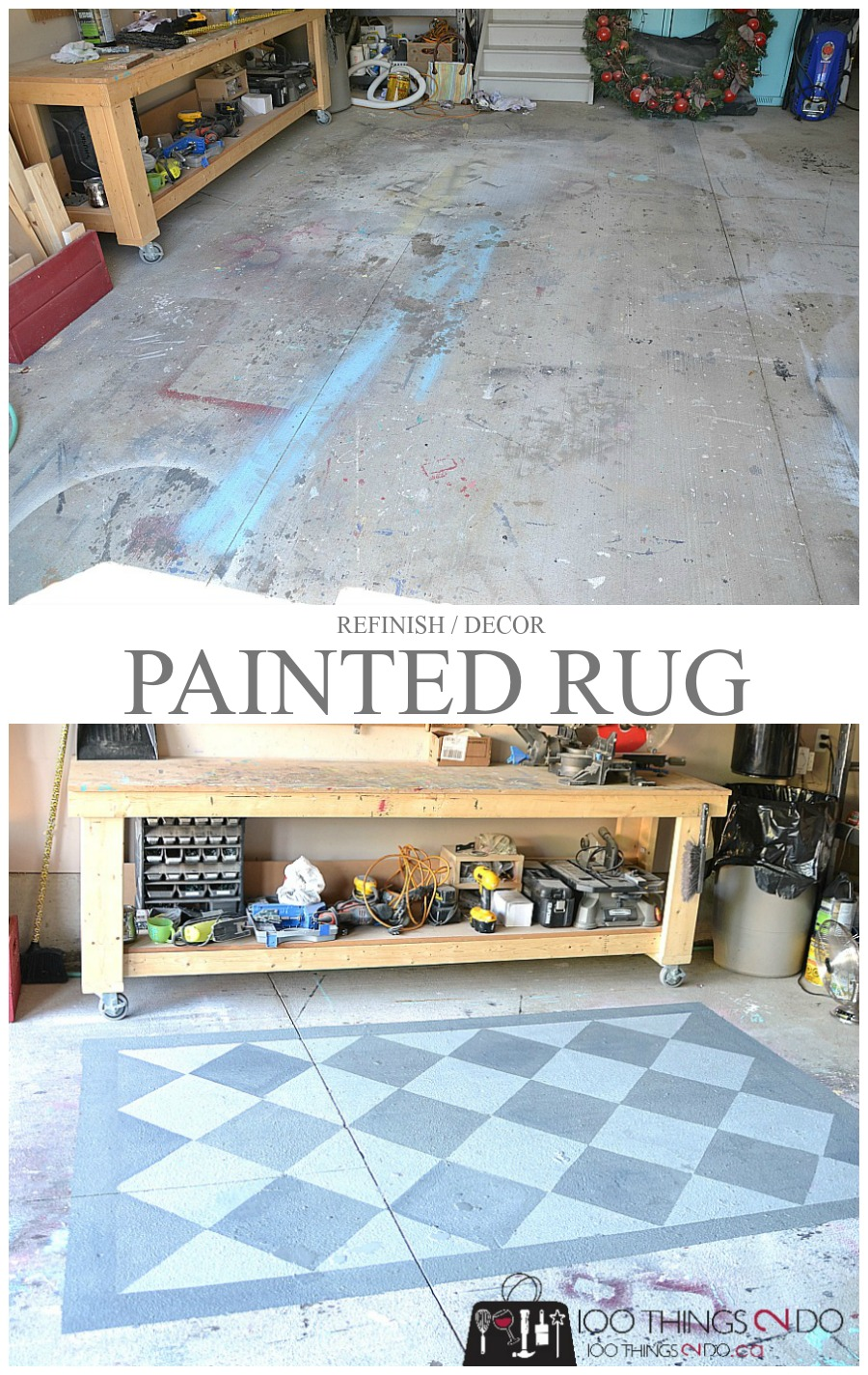 Painted garage floor cement area rug 100 things 2 do for Garage deck