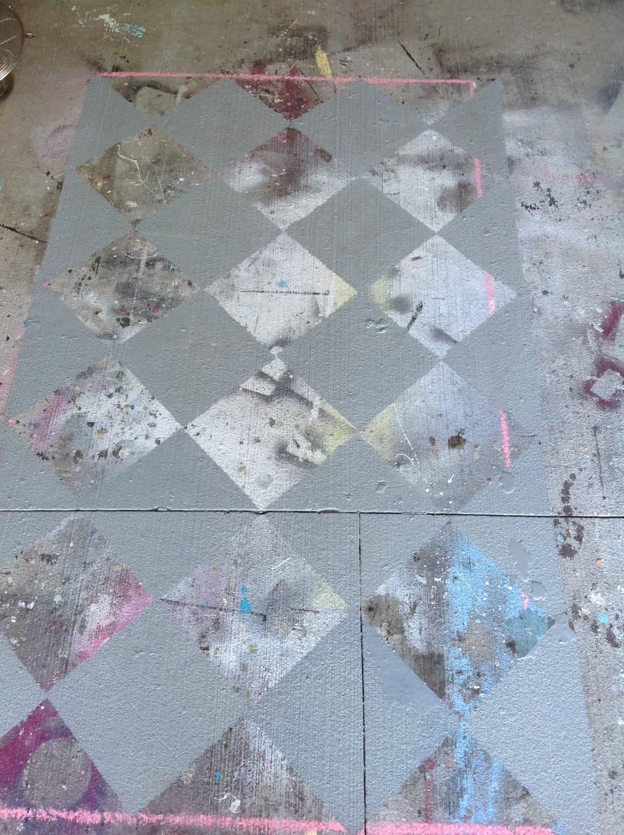 Painted garage floor, Painted rug, painting a rug on concrete, painting a concrete floor