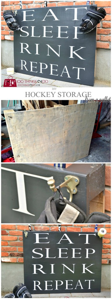 Hockey storage rack from a pallet