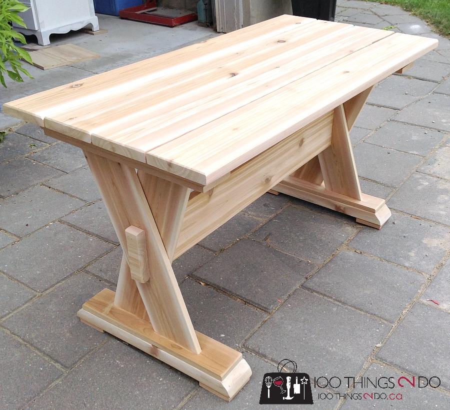 DIY cedar patio table, DIY patio table, DIY outdoor furniture, DIY patio coffee table, wood coffee table, wood patio table