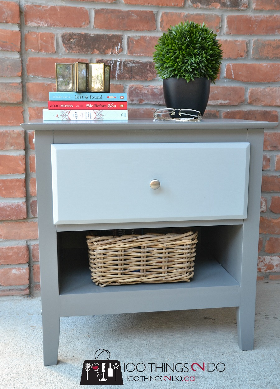 How to add a shelf, adding a shelf to furniture, add a shelf to furniture, replace a drawer with a shelf, nightstand makeover, two-tone nightstand, grey nightstand