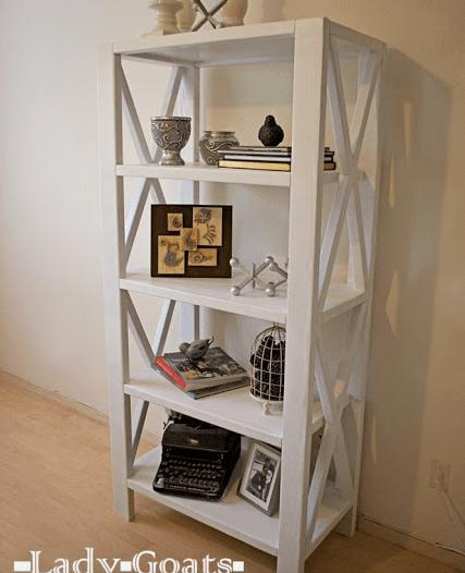 """Ana White - Rustic X Bookshelf 72"""" tall"""