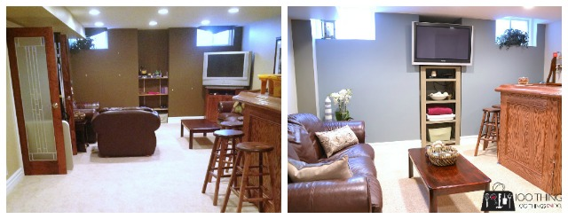 Basement makeover, man cave, theatre room, rec room, basement space