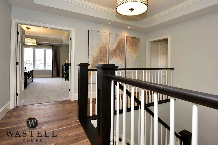 grey foyer, staircase, gray owl Benjamin Moore, dream home, model home, Wastell homes
