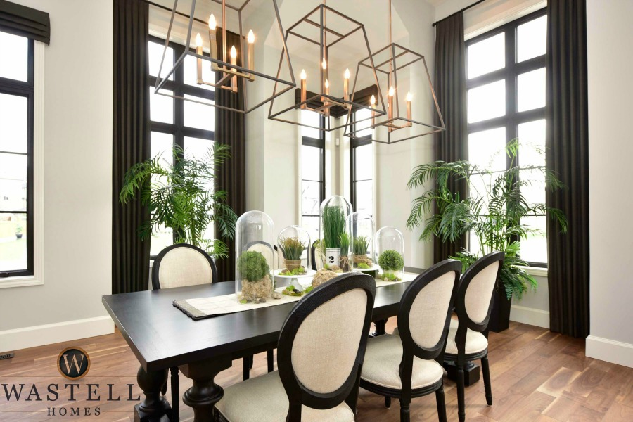 dining room, gray owl Benjamin Moore, dream home, model home, luxury dining room