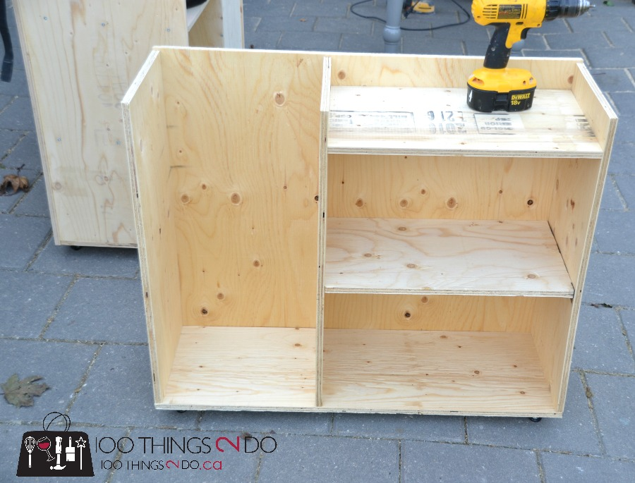 DIY sports storage cart, organizing sporting equipment, hockey storage rack, baseball storage cart, storing sports equipment