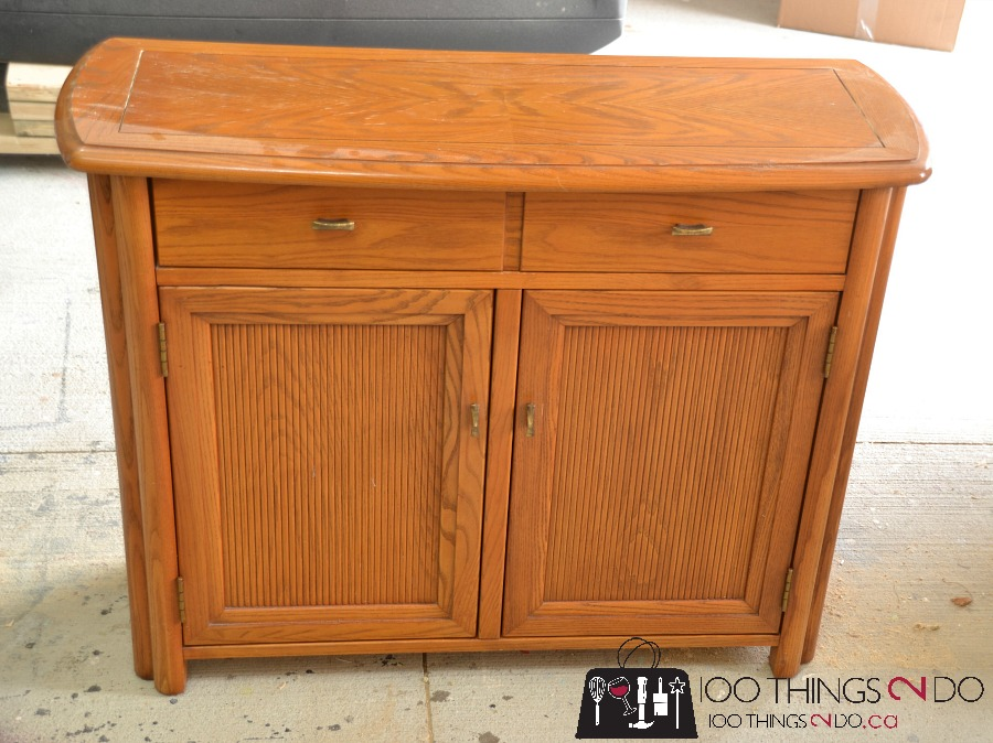 Cabinet makeover, sideboard makeover, painting oak cabinets, refinished sideboard