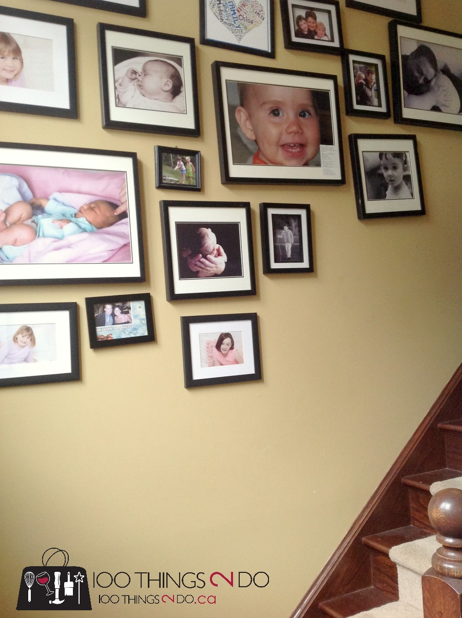 Gallery wall, family photo wall, staircase gallery, kids art gallery