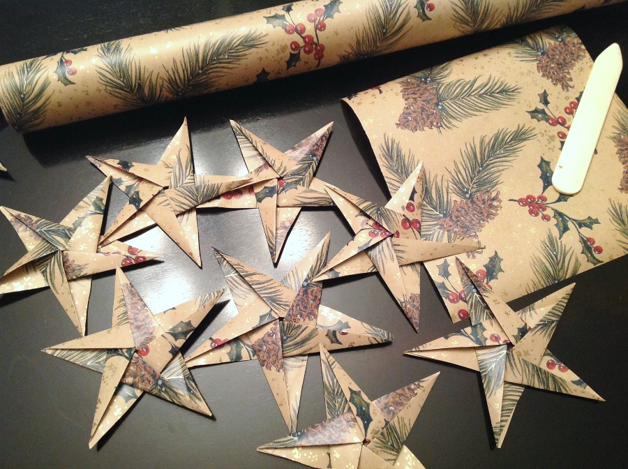DIY ornaments, origami star, paper ornaments, paper stars