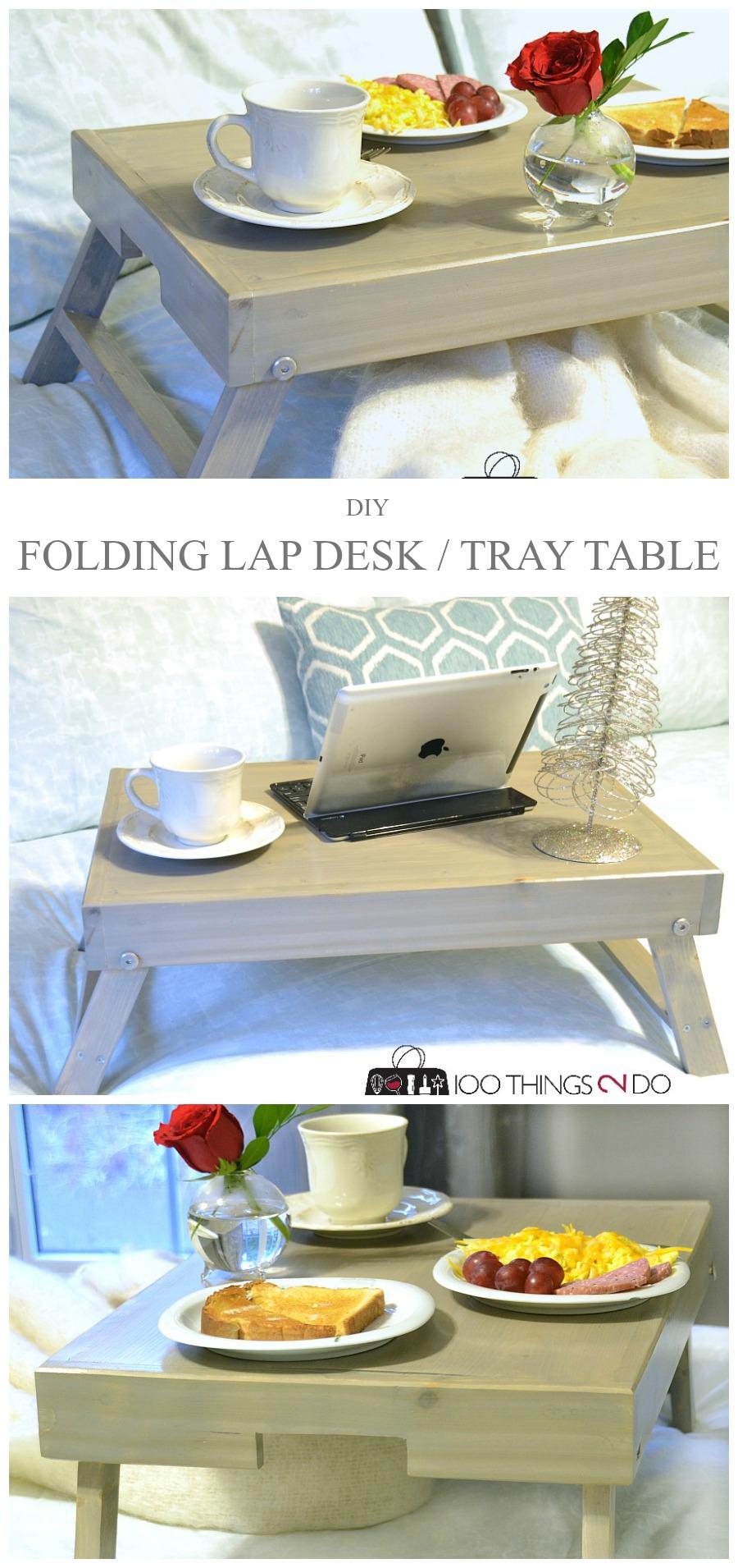 DIY folding lap desk, DIY folding breakfast tray, lap desk, breakfast tray, breakfast in bed