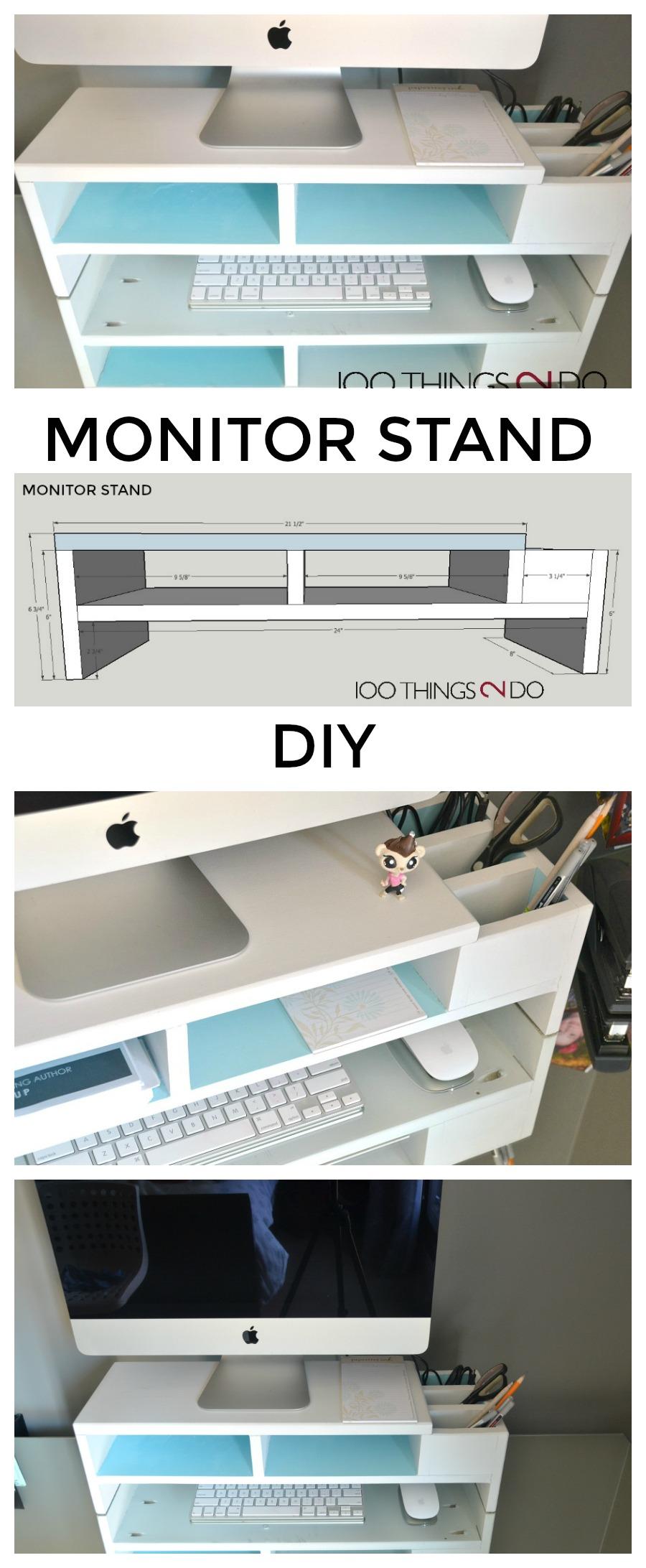 DIY monitor stand, monitor stand, desk organization