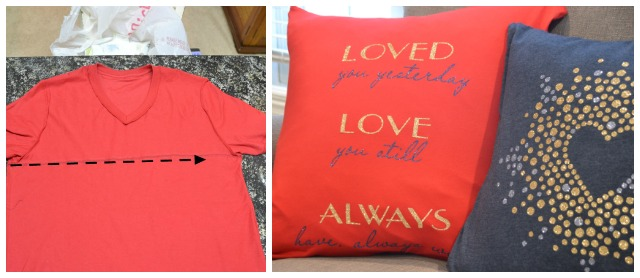 Valentine pillows, Valentine's pillow covers, t-shirt pillow covers, easy sew t-shirt pillows, Valentine's day decor