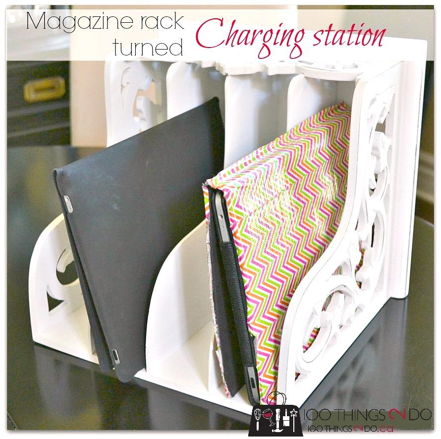iPad charging station, charging station, iPad charger, repurposed magazine rack, easy iPad station