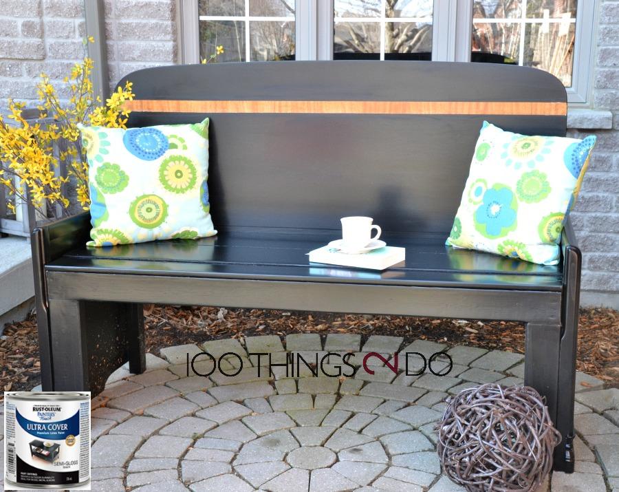 Headboard turned garden bench, upcycled headboard, garden bench from a headboard and footboard, Rustoleum, Rust-Oleum, repurposed headboard