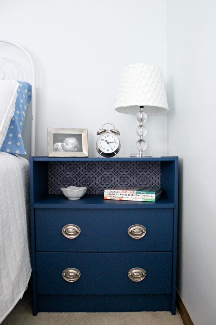 Ikea Rast hacks, 50 of the best Ikea Rast hacks, navy nightstand, navy bedside table, Ikea rast makeover, nightstand, bedside table, Ikea hacks