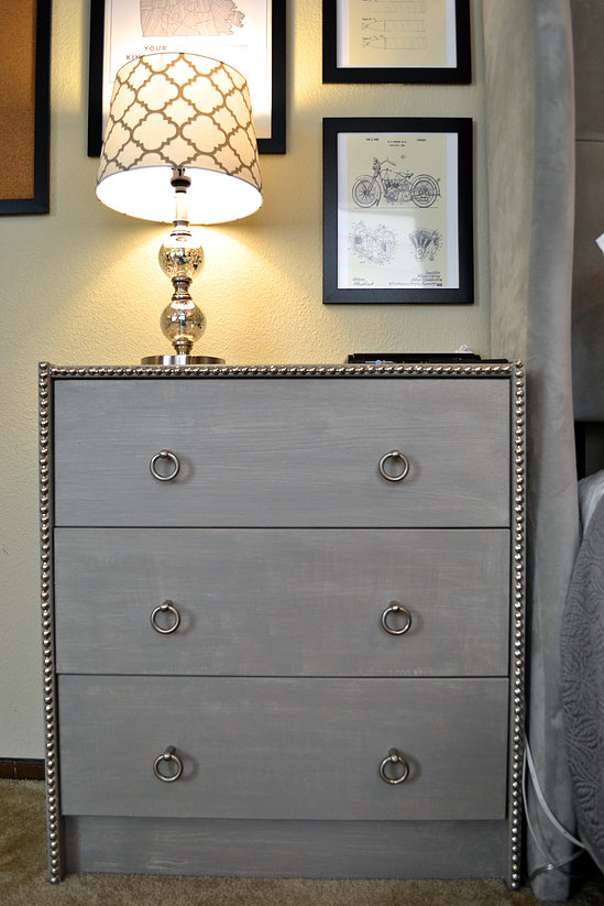 Ikea Rast hacks, 50 of the best Ikea Rast hacks, grey nightstand, DIY nightstand, nailhead trim, Ikea rast makeover, nightstand, bedside table, Ikea hacks