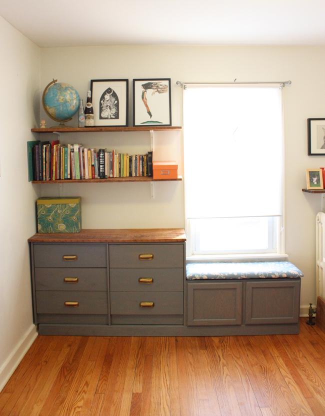 Ikea Rast hack, dresser turned window seat, dresser built-ins, window seat, Ikea rast makeover, nightstand, bedside table, Ikea hacks