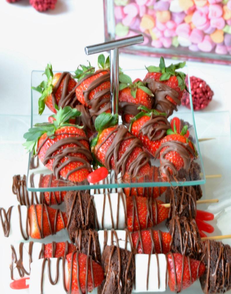 Strawberry brownie kebabs, strawberry dessert skewers, strawberry brownie skewers, class treats, Valentine's treats