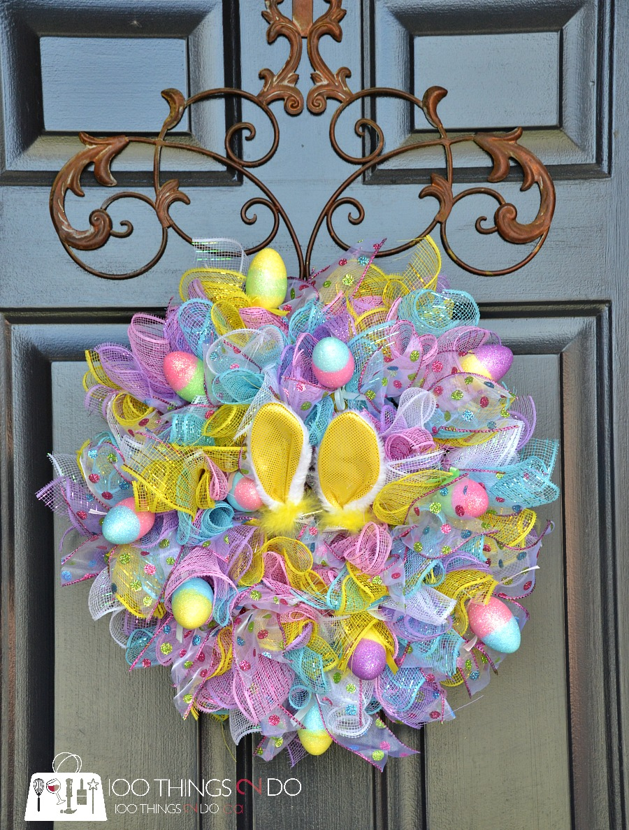 easy easter wreath deco mesh wreath easter decor easter centrepiece easter centerpiece - Easter Wreaths