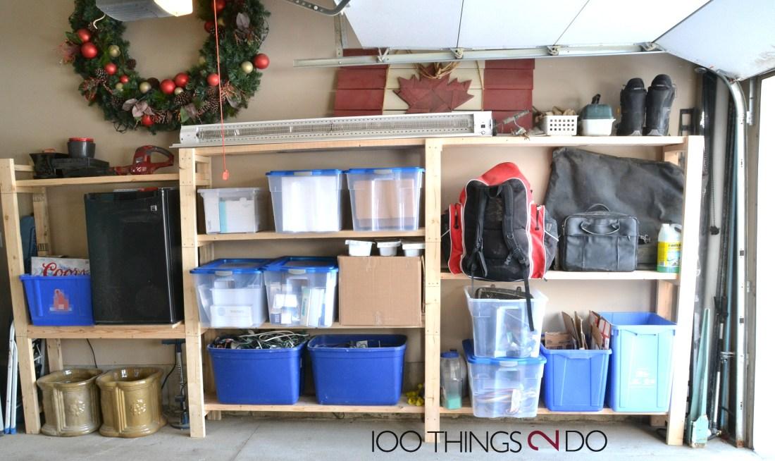Garage shelving, easy garage shelves, garage organization ,organizing the garage, garage shelf