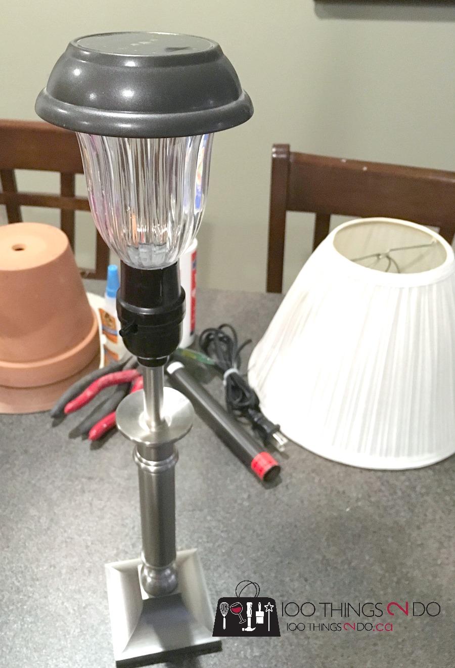 Solar lamp, outdoor lighting, patio lighting, DIY solar lamp, DIY solar lighting