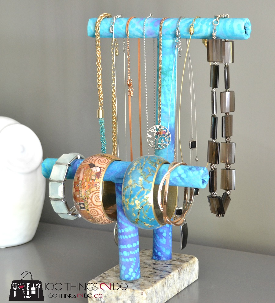 DIY jewelry holder, DIY jewelry stand, PVC project, jewelry organization