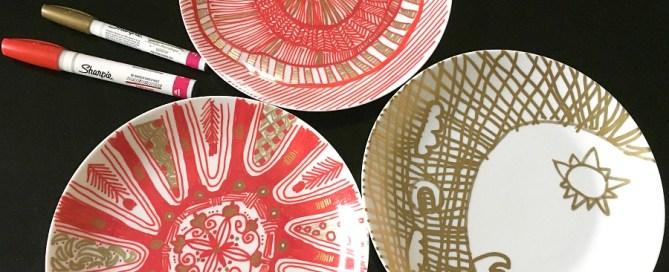 Zentangle plates, sharpie dishes, Sharpie plates, drawing on dishes, Sharpie oil markers, zentangle