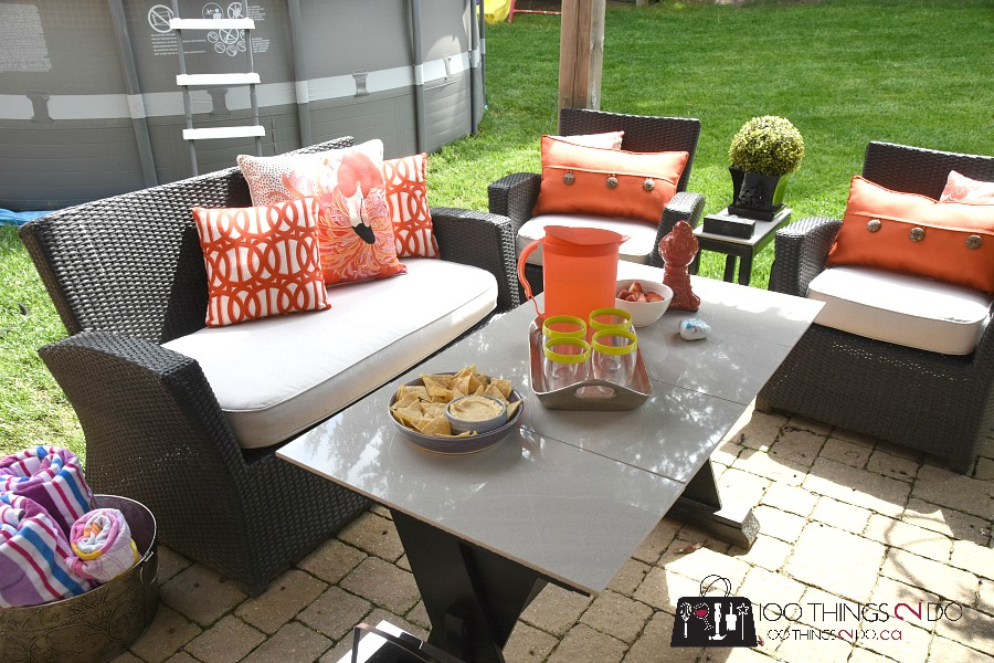 Patio makeover, patio set makeover, patio decor, patio cushions, Sweet William Sewing, patio life