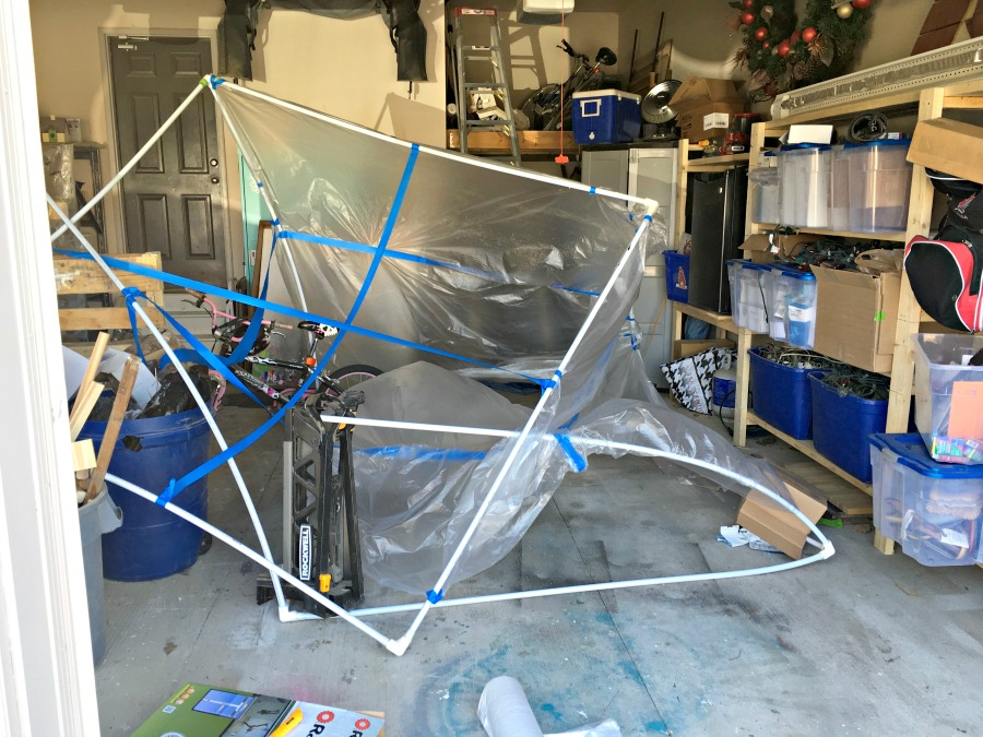DIY spray paint tent fail, pvc pipe spray paint tent