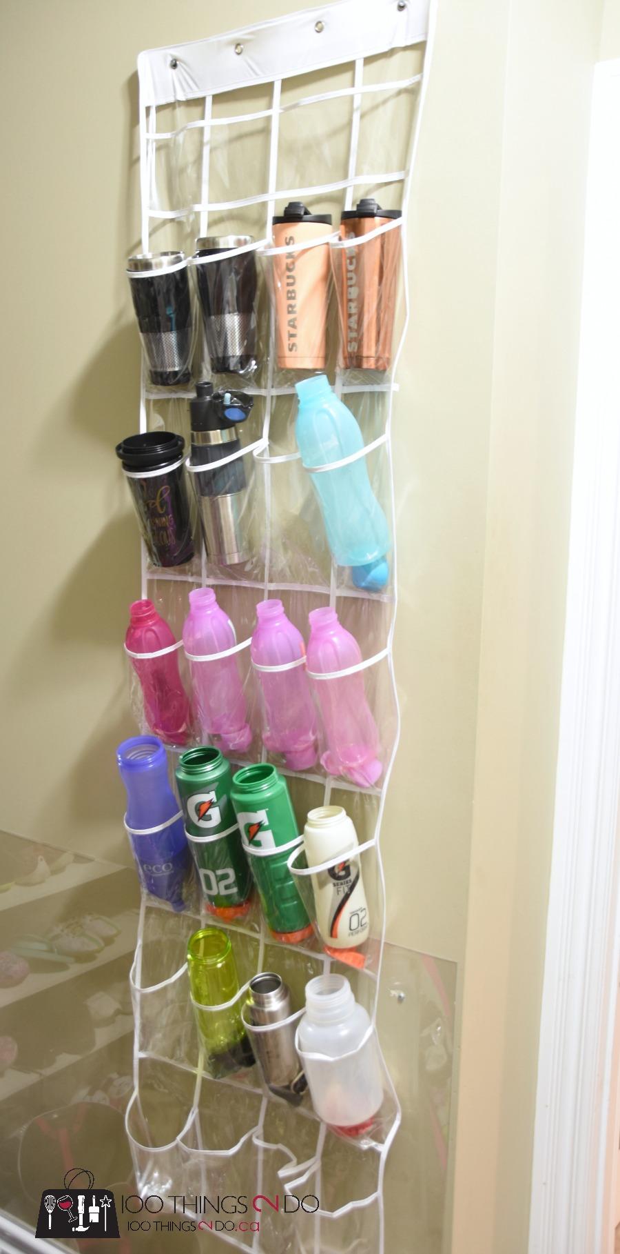 Water bottle storage, organizing water bottles, storing sports bottles, storing water bottles, waterbottle