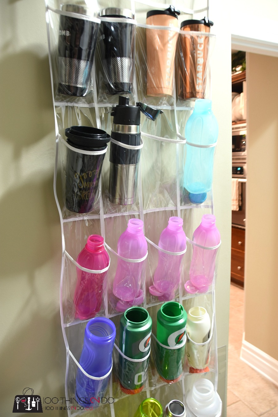 Water bottle storage, organizing water bottles, storing sports bottles, storing water bottles, waterbottle