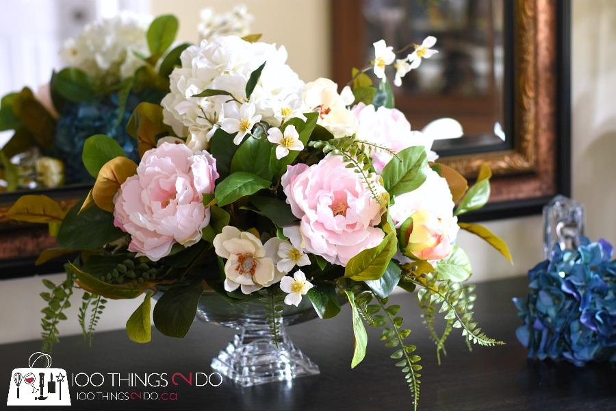 Artificial flowers, artificial greens, silk flowers, artificial flower centrepiece, centerpiece, DIY floral arrangement