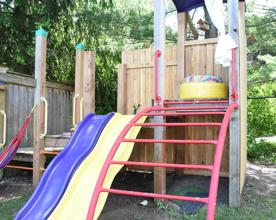Treehouse, playground, treehouse makeover, playground makeover, Tween treehouse, Tween playground, play structure