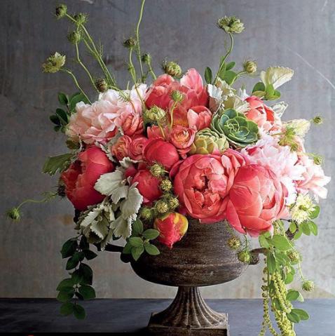 floral centerpiece, floral centrepiece, faux flowers, artificial flowers, silk flowers, peonies, pink floral arrangement
