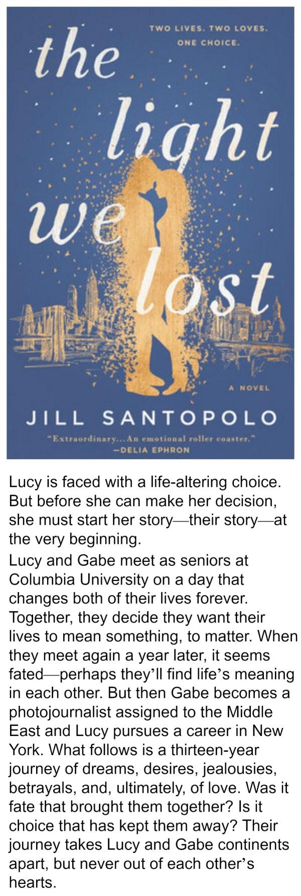 The Light We Lost, Jill Santopolo, summer reading, best books of 2017, summer reading 2017, love story, fiction