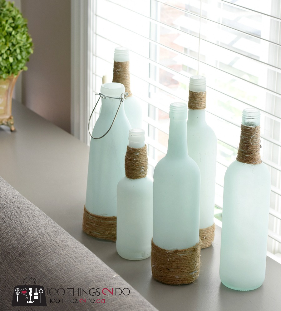 Sea glass, DIY sea glass, coastal decor, Rustoleum frosted glass