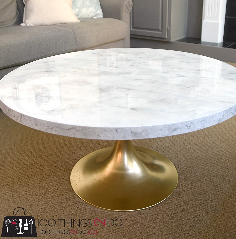 Faux Marble Round Coffee Table: DIY (Faux) Marble Coffee Table