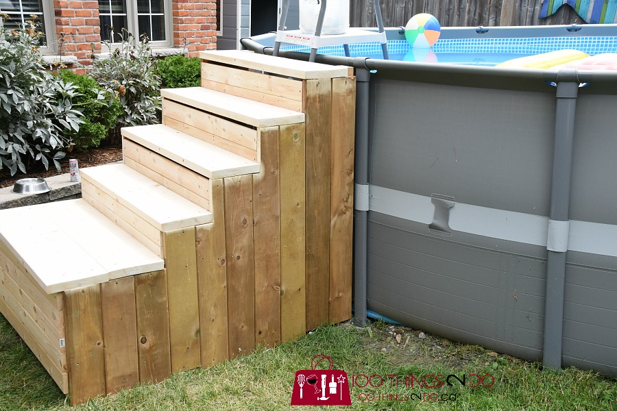 Because The DIY Pool Ladder Steps And Frame Were Made From Building Lumber,  It Was Important To Add An Exterior Stain To The Stairs.