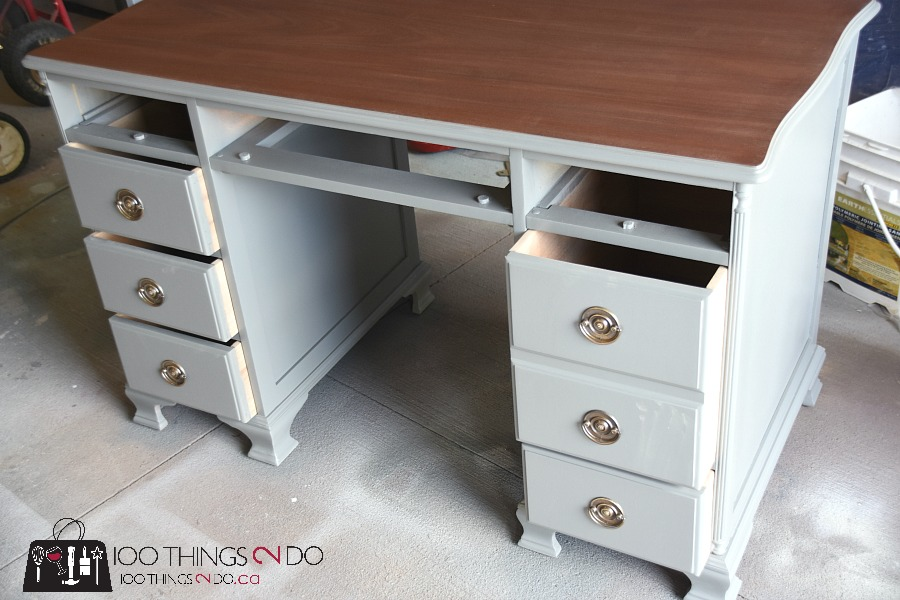 Desk makeover, gray desk, two tone desk, grey desk, antique desk, refinished desk, painted desk