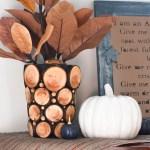 Branch slice vase, branch slice decor, using branches in your decor, log slice decor, Fall decor, Fall DIY, Autumn decor, wood slice project